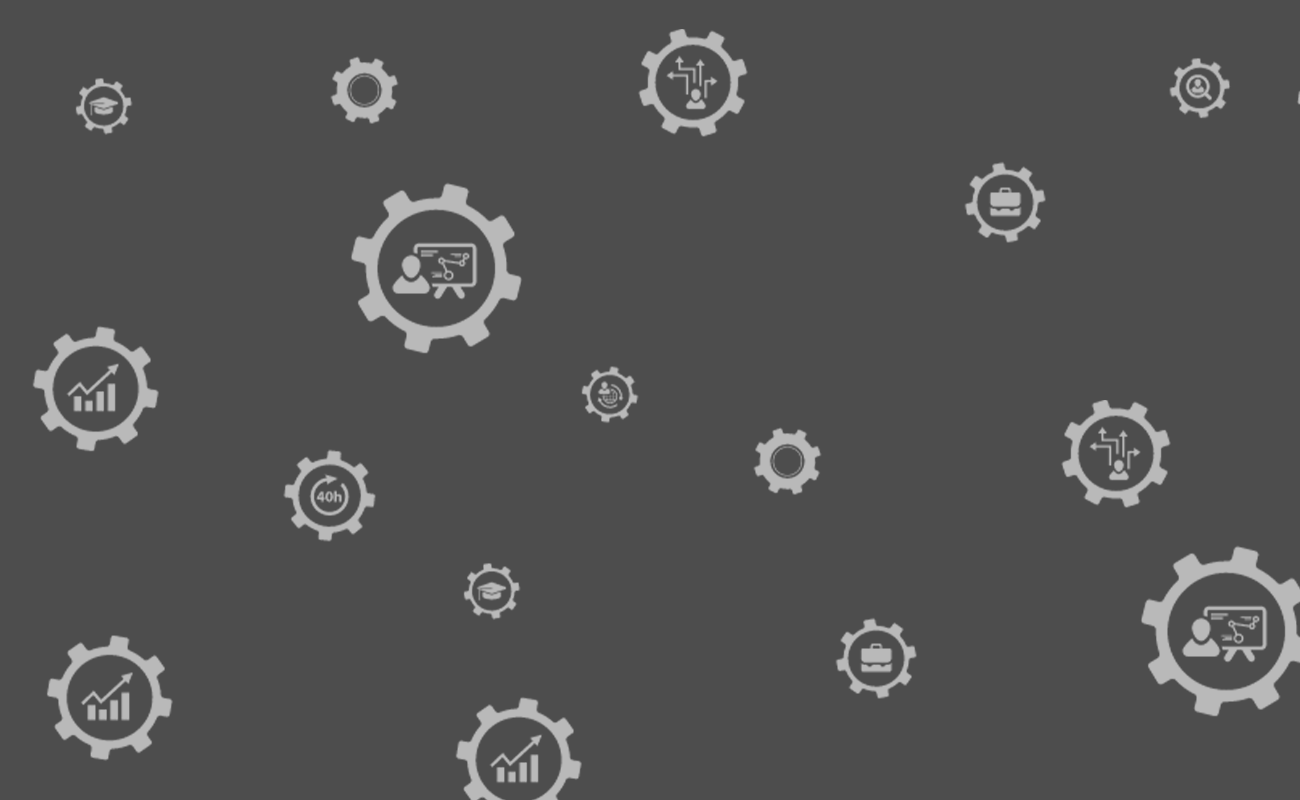 graphic of gears of gears with icons of different teaching course inside them