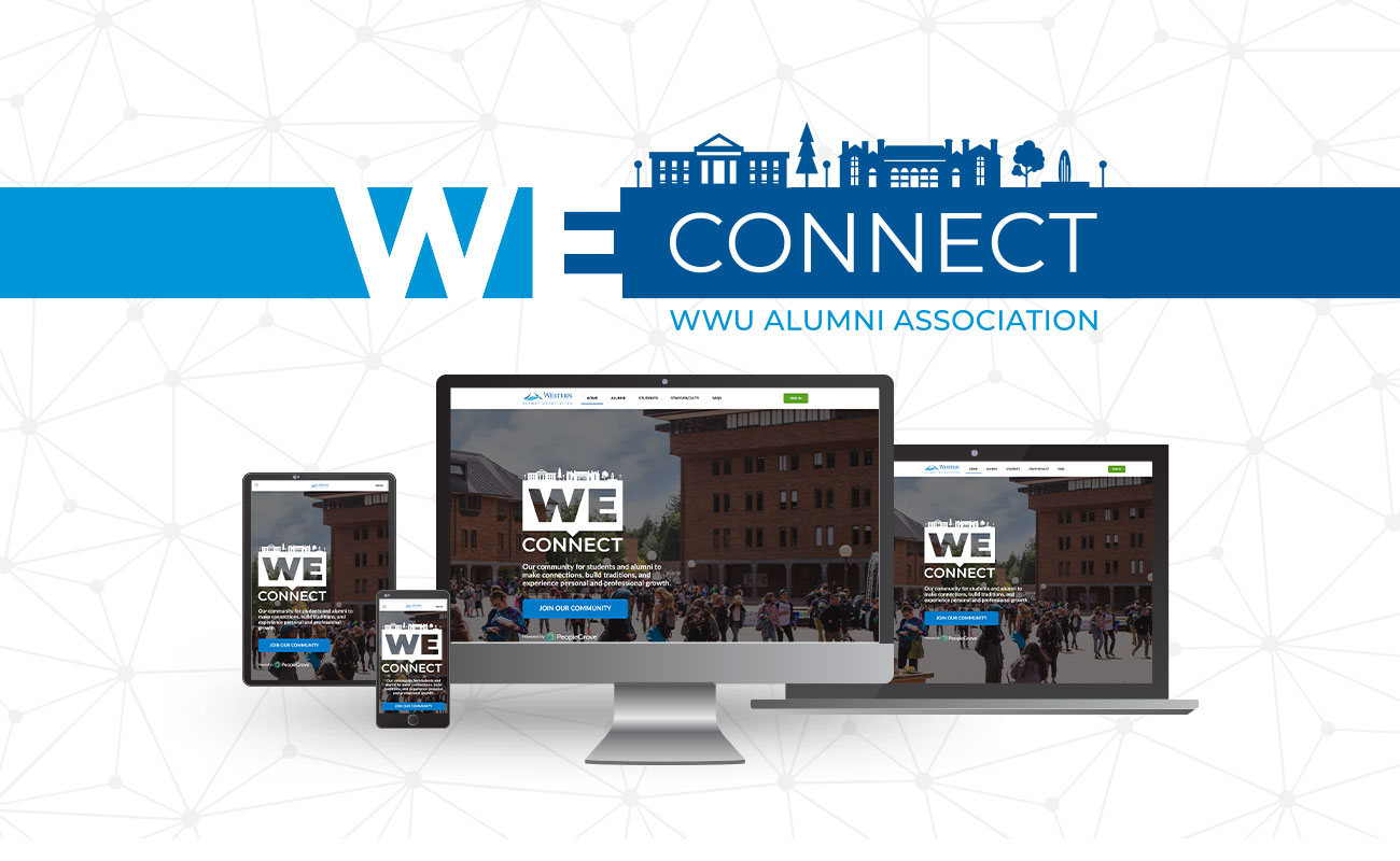WE Connect logo with different devices showcasing the WE Connect website on them.