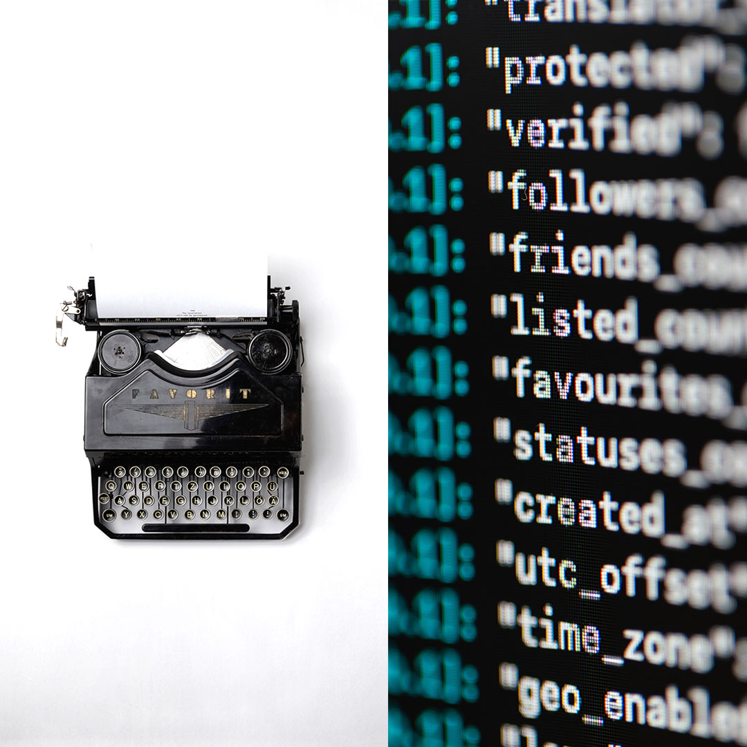 Left side shows vintage manual typewriter. Right side shows close up of a computer screen with green and white coding language on a black background