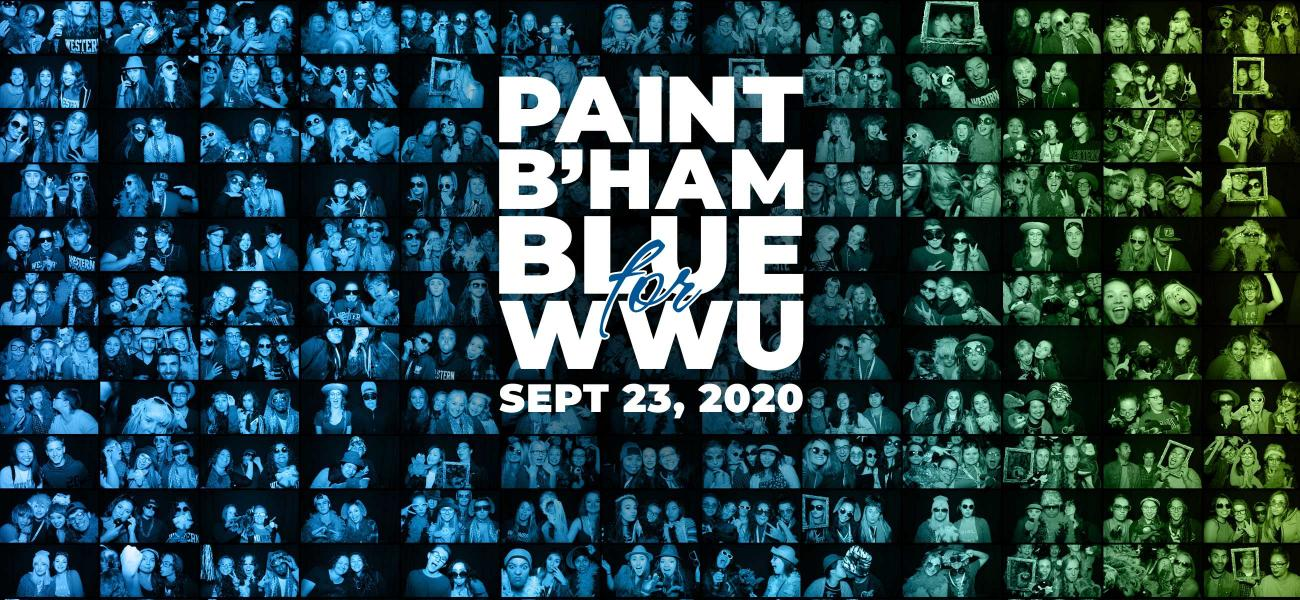 large photo collage of WWU students making funny faces in a photo booth at the last Paint B'ham Blue for WWU event with the Paint B'ham Blue for WWU logo superimposed over the center of the collage.