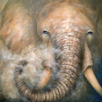 Lori Hill's painting of an Elephant's face coming out of the smoke