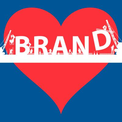 The word 'BRAND' superimposed over a heart.