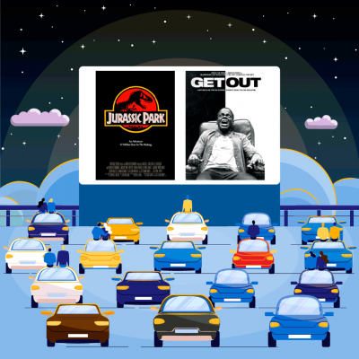 The poster cover of Jurassic Park and Get Out superimposed over a movie screen at a drive-in theatre with cars parks out in front