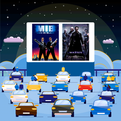 The poster cover of Men in Black and The Matrix superimposed over a movie screen at a drive-in theatre with cars parks out in front