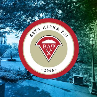 Picture of Old Main Lawn from the stairs of Old Main with the Beta Alpha Psi logo