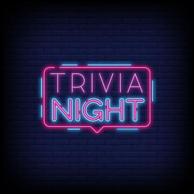 Picture of the words Trivia Night in pink and purple colors as if it was a lighted sign