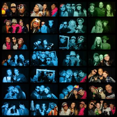 photo collage of people having fun at a photobooth