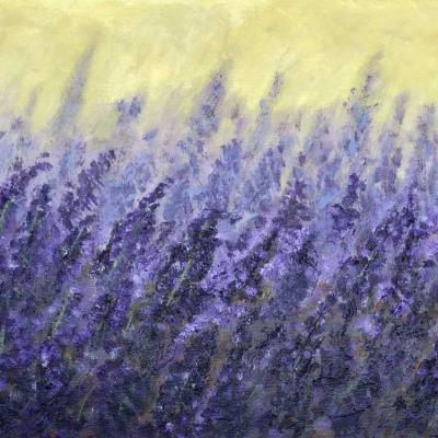 Painting of a field of lavender by artist Mani Troutman