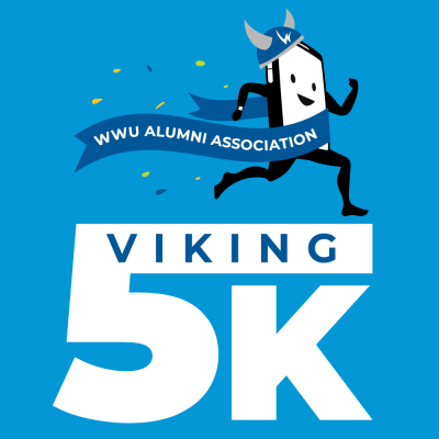 WWWU Alumni Association Viking 5K text superimposed with a little running smartphone crossing a finish line.
