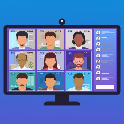 Cartoonish picture of a computer monitor with a diverse group of cartoonish people (with no eyes, nose, or mouth) in a virtual meeting setting. In the upper right corner is a WWU blue ribbon with the Alumni logo.