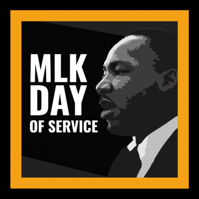 MLK DAY OF SERVICE - text superimposed over a black and white photo of Martin Luther King