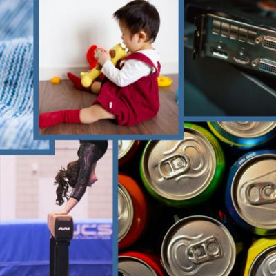 Grid of photos of fabric, gymnast, soda cans, computer component, and small child