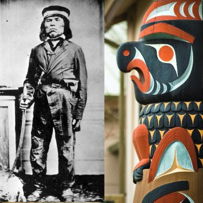 Right side of image: details of carved Native American totem. Left: historic black and white photo of Head Chief of Clallam Tribe