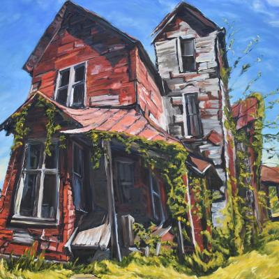 Painting with dramatic and skewed perspective of very old two story red house overgrown with green vines