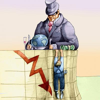 Illustration of a wealthy tycoon and a struggling worker