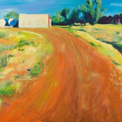 Brightly colored painting of winding road and fields