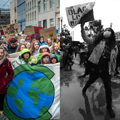 Left panel: young climate marchers. Right panel: racial justice protestor