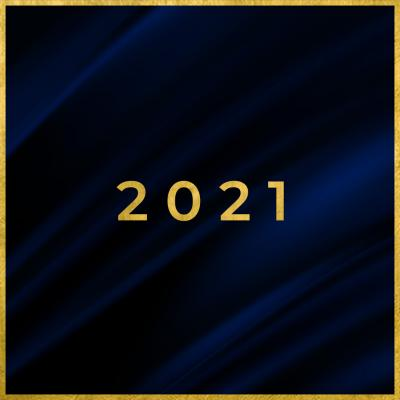 black square with a fabric texture with '2021' in the center in gold