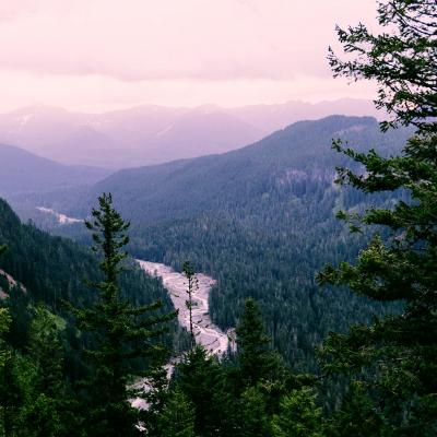 Looking out over Washington mountains and a river